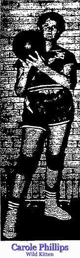 Picture of Carole Phillips, Hamburg (Iowa) Wild Kitten basketball player, from the March 6, 1958 edition of The Hamburg Reporter. Junior year scored 783 points (37.1 ppg avg.) and had 2,202 pts. in career with senior year to go in career.