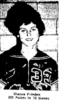 Dianne Frieden, Valley High, as Player of the Week, having scored 57 points in a game. The Oelwein Daily Register, January 4, 1960.
