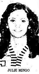 Julie Mingo, Glenwood Community High Ramettes basketball player picture, senior year, November 1976.