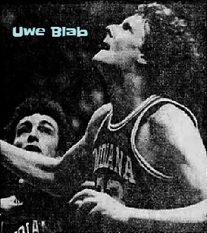 Image of Uwe Blab, foreign-exchange student and boys basketball player for Effingham High School in Illinois. Showing a vlose up of him looking up to our left for a rebound. From the Herald & Review, Decatur, Illinois, January 23. 1982.