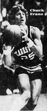 Action image, Indiana boys basketball player, Chuck Franz, Clarksville Hogh School, looking to pass. From Yje Courier-Journal, Louisviille, Kentucky, December 12, 1978. Photo by Steve Denny.