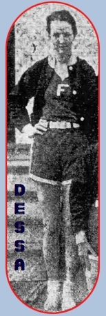 Image cropped from team photo, of Modesta (Dessa) Weiss, girls basketball player for the Little Flower School Red Coats (Alabama), standing with a white 'F' on uniform. From The Selma Times-Journal, Selma, Alabama, March 6, 1935.
