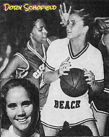 Images of Dory Schofield, Florida girls basketball player for Cocoa Beach high school. Portrait from Florida Today, CDocoa, Florida, Feb. 8, 1993, and action shot with basketball, from Florida Today, Cocoa, Fla., 2/3/1993, photographer: Craig Rubadoux.
