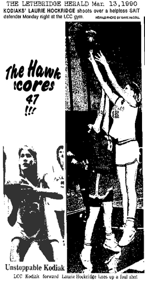 Two pictures from articles from The Lethbridge Herald, Lethbridge, Alberta, Canada, March 13, 1990, of Laurie Hockridge, Laurie (The Hawk) Hockbrudge, basketball player for the Lethbridge Community College Kodiaks. Photos by Dave McColl. One picture shows her shooting a jump shot high above the defender, the other shows her about to shoot a foul shot, both in the game the day before, an 81-57 victory over the SAIT Lady Trojans, in the championship game, game 3 of a best-of-three finals series, of the Alberta Colleges Athletic Conference.
