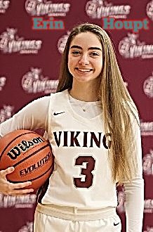 Image of girls basketball player, Erin Houpt, wearing her white number 3 Vikings uniform, with basketball on right hip. Danville High School, Illinois, 2019-20.