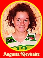 Portrait image of Augusta Kievisaite, Lithuanian girls basketball player, number 12, on the 2011-12 Kauno KM Aisciai I under-18 basketball team.
