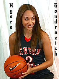 Benton Harbor's Kysre Gondrezick, number 2, posing with a basketball.
