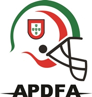 Logo for the Associação Portuguesa do Desporto de Futebol Americano. with a football helmet and APDFA written in block letters at the bottom.