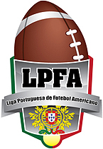 Logo for the Liga Portuguesa Futebol Americano, that among other things, has a football in a bucket labeled LPFA..