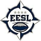 Eastern European Super League logo. 'EESL/Eastern European Super League, EESL and a football insde an 8 pointed star.